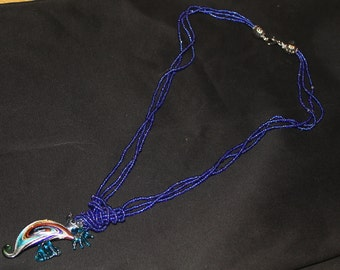 Royal Blue beaded Sea Horse necklace