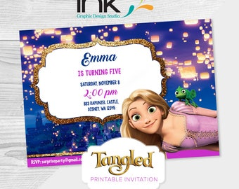 Rapunzel Invitation, Tangled Invitation, Rapunzel Birthday, Tangled Birthday,  - Instant Download - Edit Yourself
