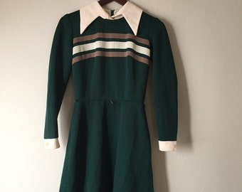 Mod Forest Green Dress - 1960s - 1970s - Long Sleeves