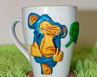 monkey,morning,gift,mug with polymer clay,decorative mug,handmade mug,gift mug,tea,coffe,for him,for her,gift cup