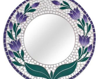 Mosaic mirror purple green floral design round handmade glass mosaic