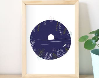 Tropical print, illustration, night, graphic art, beach, blue, home decor, design graphics, vegetable, summer, sea, vacation, bird