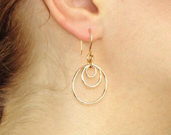 Triple Hoop Earrings, Circle Hoop Earrings 3 Circle Earrings, Hammered Hoop Earrings, Silver, Gold, delicate minimal dainty everyday gift