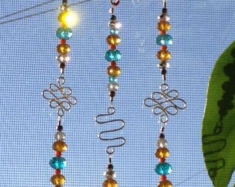 Hand Made Silver Sun Catcher with Crystals