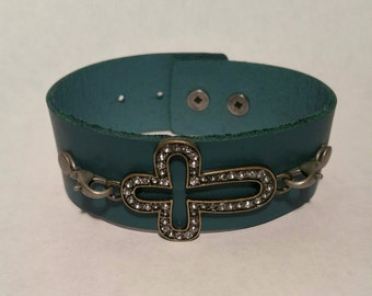 Teal leather bracelet with crystal encrusted cross