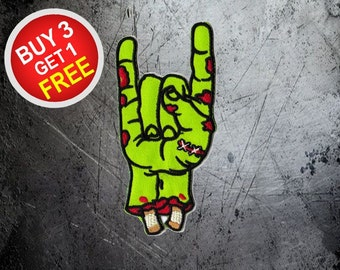 Rock Hand Patch Zombie Patch Iron On Patch Embroidered Patch Sew On Patch Punk Patches Jacket Patches