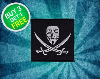 Guy Fawkes Patches Anonymous Patches Patch Iron On Patch Embroidered Patches