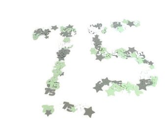 75th birthday party table confetti-mint green,ice white, sterling silver,gift wrapping,party ideas,stars,seventy fifth birthday,seventy five