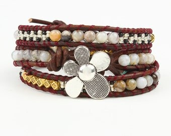 6 mm  stone beads bracelet  flower bracelet wedding bridesmaid bracelets Womens Gift