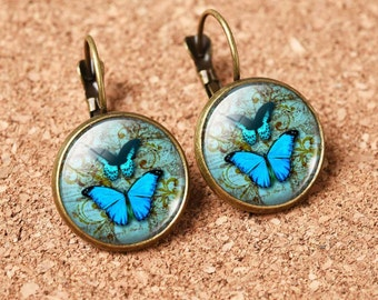 Womens cabochon earrings, Blue butterfly earrings, Bronze copper earrings, Glass cabochon earrings, Lever back earrings, Cheap earrings E65