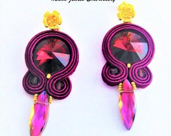 soutache earrings amethyst wine