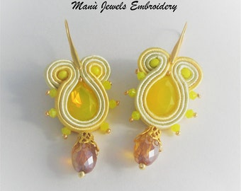 soutache earrings yellow sun