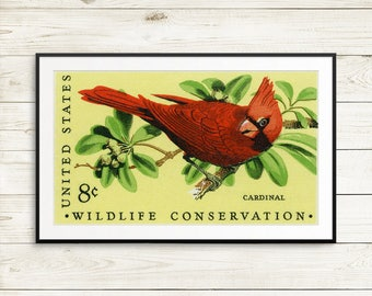 Cardinal, cardinal art, cardinal print, cardinal bird, cardinal poster, wildlife conservation, conservation poster, wildlife posters