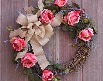 Summer Wreath, Spring Wreath, Grapevine Wreath, Pink Rose Wreath, Front Door Wreath, Welcome Wreath, Rustic Wreath, Housewarming, Birthday