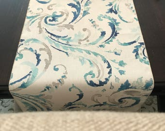 Blue Aqua Teal Table Runner | Tiffany's Aqua Blue Table Runner | Paisley Table Runner | Teal Robin's Egg | Coastal Table Runner | Home Decor
