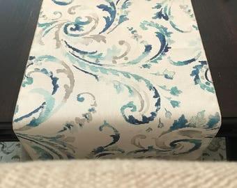 Blue Aqua Teal Table Runner | Beach Table Runner | Blue Table Centerpiece |  Coastal Living