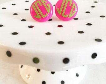 Monogrammed Stud Earrings // Personalized // Wedding Gift // Bridesmaid // Bride // School Colors