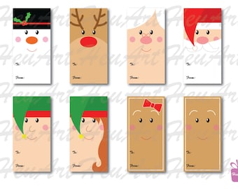 NEW Cute Faces Gift Tag Set - Cute Christmas Gift Tag, Cute Holiday Gift Tag, Cute Christmas Printables, Cute Christmas DIY, Tag, Gifts