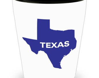 TEXAS - Lone Star State Pride on Cool Ceramic Shot Glass Makes a Perfect Gift for The Texan in Your Life!