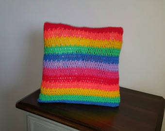 Rainbow cushion. Hand made crocheted cushion cover in a choice of colours