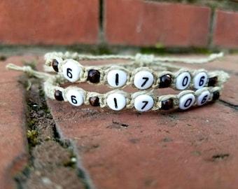 Custom hemp bracelet, anniversary bracelets, couples bracelet, His & hers, couples gift sets, date bracelets, wedding gift, wife, husband