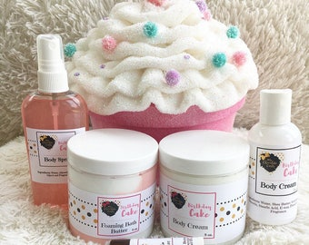 Birthday Box, Gift Set, Birthday Girl, Gift for Her, Bath and Body, Whipped Soap, Body Cream, Lip Butter, Birthday Cake