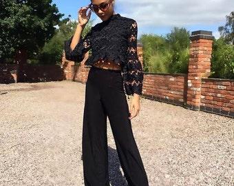 Women's Knitted Crochet Black Top