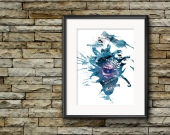 D&D, Beholder, Dungeons and Dragons, Watercolor Art, Fantasy RPG, Eye of The Beholder, Man Cave, Modern Watercolor, Fantasy Creature Poster