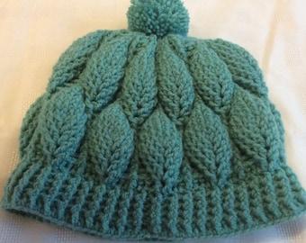 Beanie Hat - raised leaf design