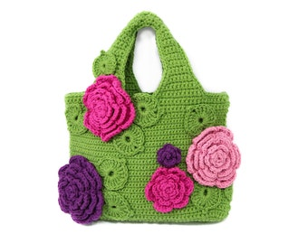 Oversized Bulk Crochet Tote Bag / Large Floral Shopper Bag FW 2017 / Green Tote Bag for Beach or Shopping / Gehäkelte Shopper Tasche