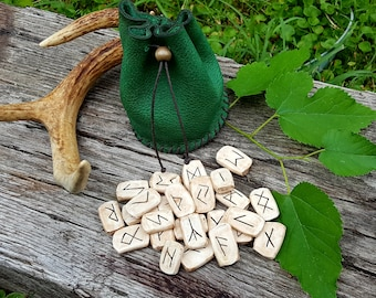 Runes and Leather Pouch