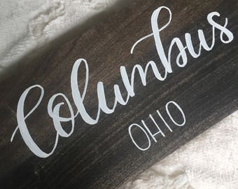 Wood Sign: Columbus, Ohio