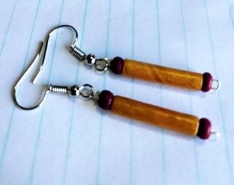 light brown wood grain paper bead earrings