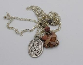 St. Kateri Tekakwitha Medal With Stone Turtle Necklace