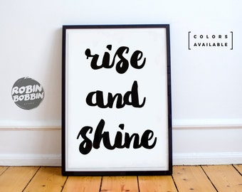 Rise And Shine - Poster with Love - Wall Decor - Minimal Art - Home Decor - Valentines Gift - Anniversary Gift