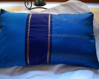 Series Jodhpur 2: cushion, 30x50cm (12 x 20), blue, sari silky vintage, blue cotton.