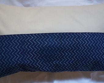 Série Panjab 8: Coussin, 30x50cm (12x20), coton indien imprimé traditionnellement, couleur bleu,coton beige.