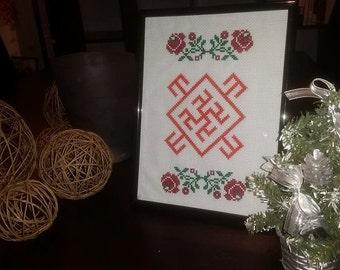 In Slavic inspired cross stitch