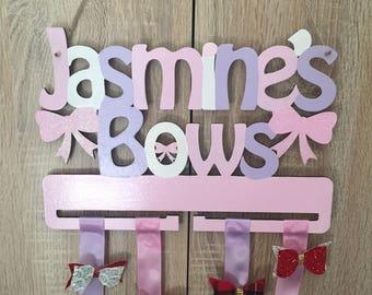 Personalised bow holder, girls hair clip holder, girls bow holder, bow organiser, hair accessories tidy, bow tidy, clip organiser