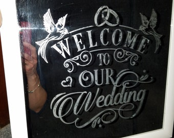 Etched mirror welcome to our wedding