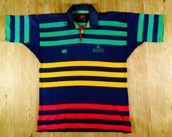 20% OFF Vintage CANTERBURY Royal Pines Gold Coast Australia Striped Jersey Short Sleeve
