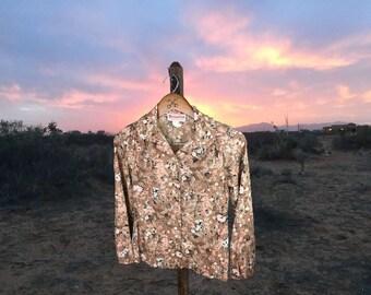 Floral Country Blouse, Women's Vintage Top, Boho Shirt, Prairie Blouse, Floral Shirt, Button Down, Long Sleeve, Beaujolais, Small