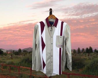 Western Rodeo Shirt, Vintage Southwestern Shirt, Mens Ranch Shirt, Striped Cowboy Shirt, Wrangler, Medium