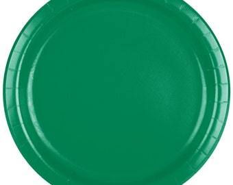 "25 (7"") Emerald Green Round Paper Plate, Wedding Supplies, Wedding, Wedding Decor, Plastic Plates, Party Supplies, Paper Plates, Wedding"