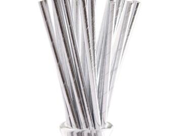 50 PCS Assorted Silver Foil Paper Straws, Straws, Party Supplies, Wedding Supplies, Wedding, Party, Baby Shower, Straws, Tableware