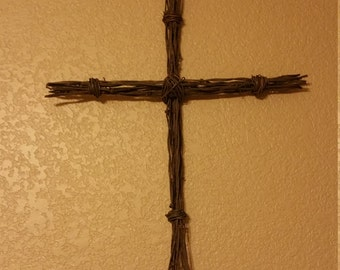 Rustic barb wire cross, barbed wire cross