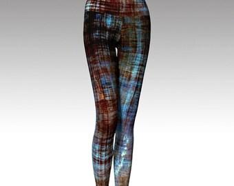 Blue and Brown Leggings, Distressed Look Leggings, Yoga Leggings, Printed Leggings, Boho, Women's Leggings