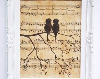 Hand Painted Birds on a Branch - Sheet Music