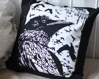 hand-printed Cushion cover occult Crow Raven