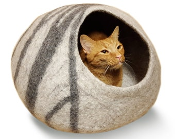 Cat Cave Large - Wool Cat Bed - Felt Cat Bed - Cat Bed House - Wool Cat Cave - Cat Furniture - Soft Cat Bed-100% Merino Wool (Fast Delivery)